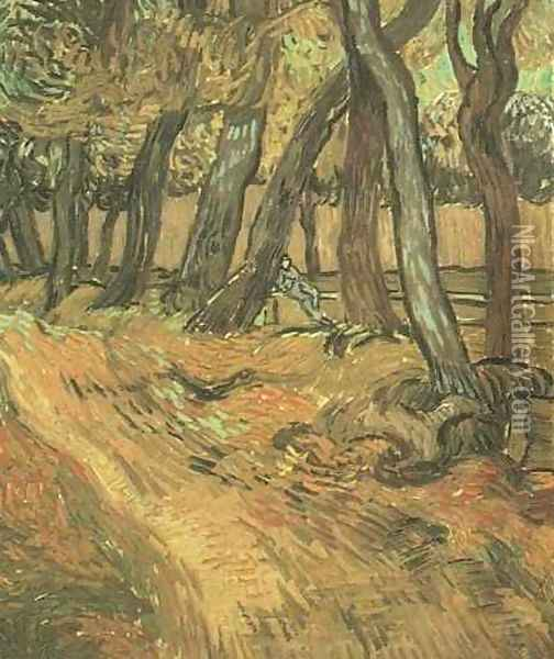 The Garden Of Saint Paul Hospital With Figure Oil Painting - Vincent Van Gogh