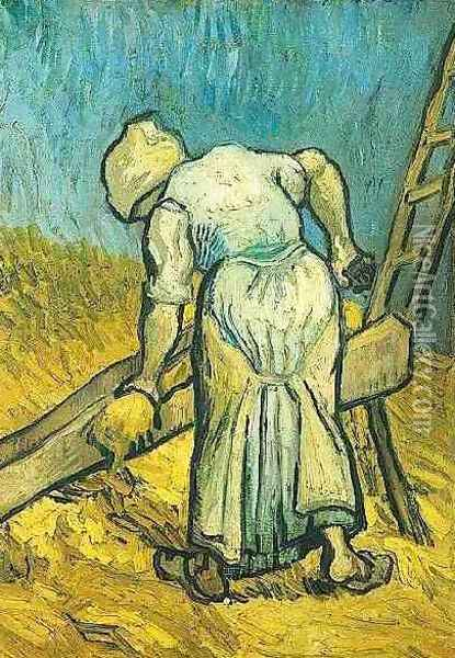 Peasant Woman Cutting Straw (after Millet) Oil Painting - Vincent Van Gogh