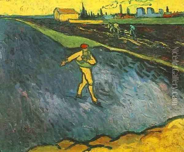 The Outskirts Of Arles In The Background Oil Painting - Vincent Van Gogh