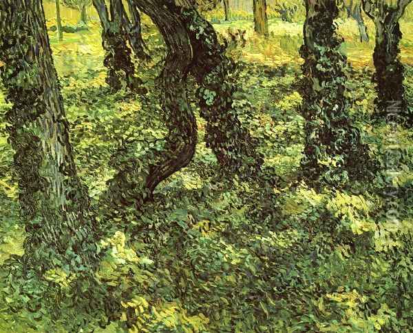 Trunks of Trees with Ivy Oil Painting - Vincent Van Gogh