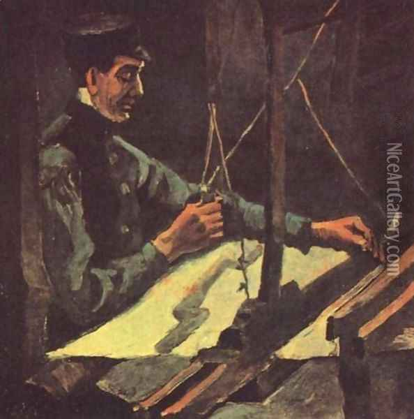 Weaver Facing Right (Half Figure) Oil Painting - Vincent Van Gogh