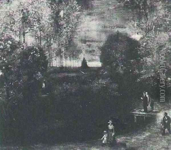 The Parsonage Garden At Nuenen With Pond And Figures Oil Painting - Vincent Van Gogh