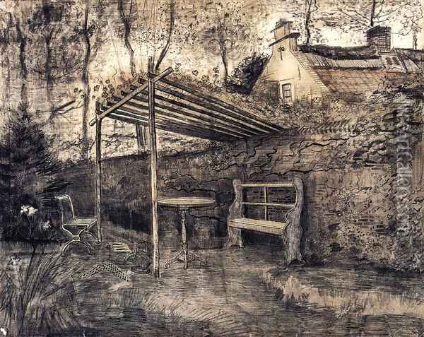 The Garden of the Parsonage with Arbor Oil Painting - Vincent Van Gogh