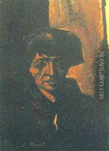 Head Of A Peasant Woman With Dark Cap Oil Painting - Vincent Van Gogh