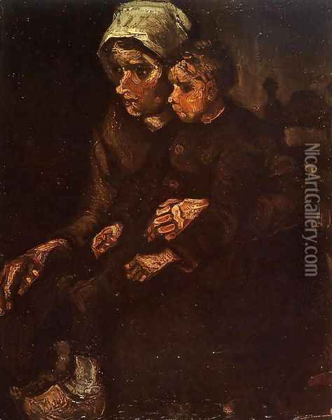 Peasant Woman with a Child in Her Lap Oil Painting - Vincent Van Gogh