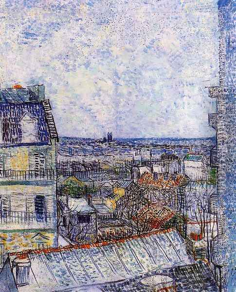 View of Paris from Vincents Room in the Rue Lepic Oil Painting - Vincent Van Gogh