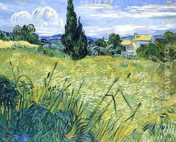 Wheatfield with Cypress Oil Painting - Vincent Van Gogh