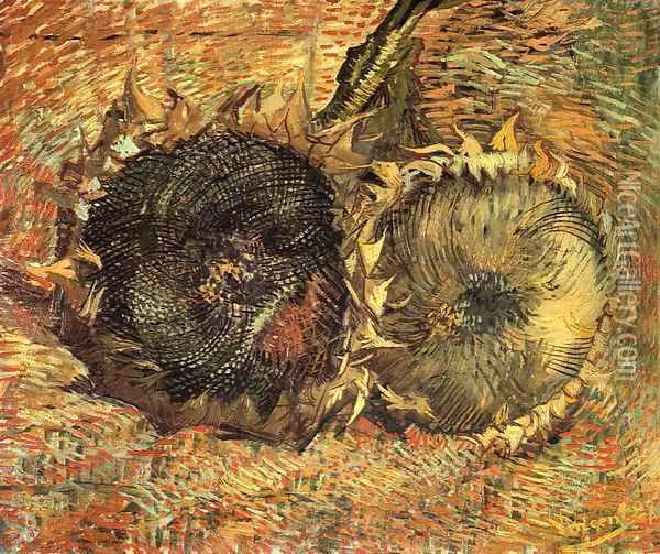 Still Life with Two Sunflowers Oil Painting - Vincent Van Gogh