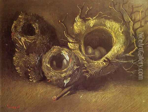 Still Life with Three Birds' Nests Oil Painting - Vincent Van Gogh