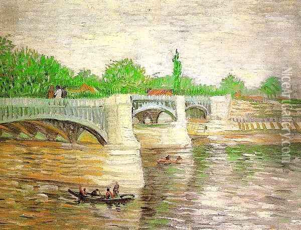 The Seine with the Pont de Clichy Oil Painting - Vincent Van Gogh