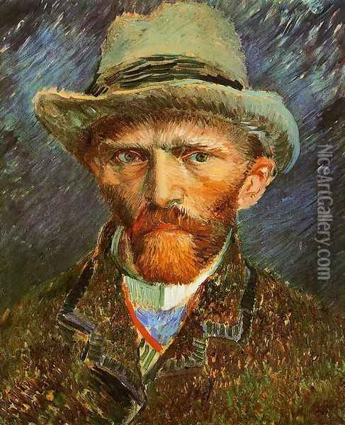 Self Portrait with a Grey Felt Hat Oil Painting - Vincent Van Gogh