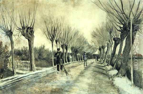 Road with Pollarded Willows and a Man with a Broom Oil Painting - Vincent Van Gogh