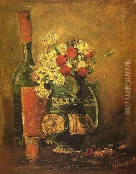 Vase with Carnations and Bottle Oil Painting - Vincent Van Gogh