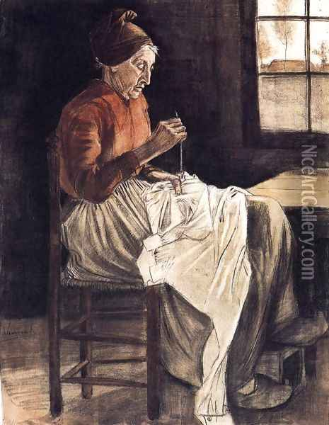 Woman Sewing 2 Oil Painting - Vincent Van Gogh