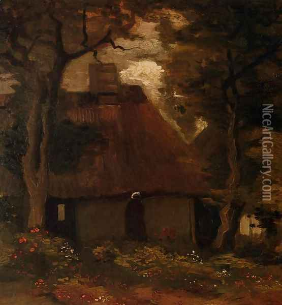 Cottage and Peasant Woman under the Trees Oil Painting - Vincent Van Gogh