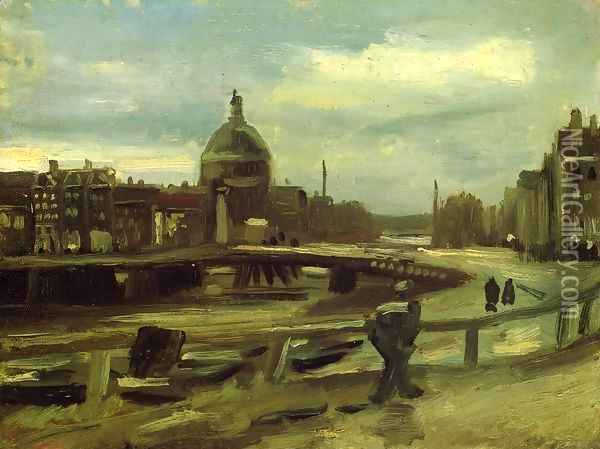 View on the Singel in Amsterdam Oil Painting - Vincent Van Gogh