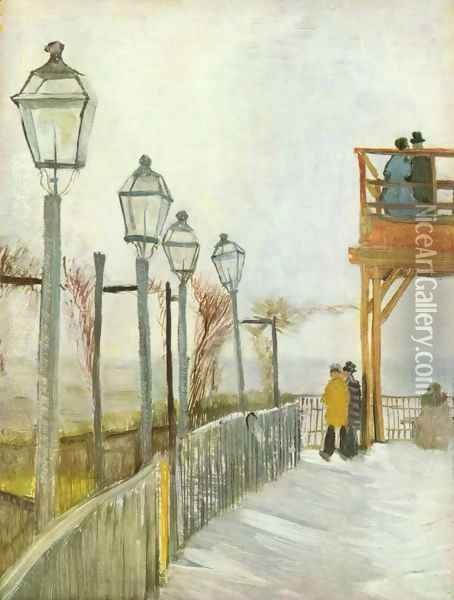 Lamps in the street Oil Painting - Vincent Van Gogh