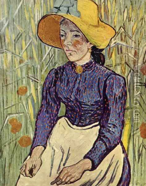 Young Peasant Woman with Straw Hat Sitting in the Wheat Oil Painting - Vincent Van Gogh