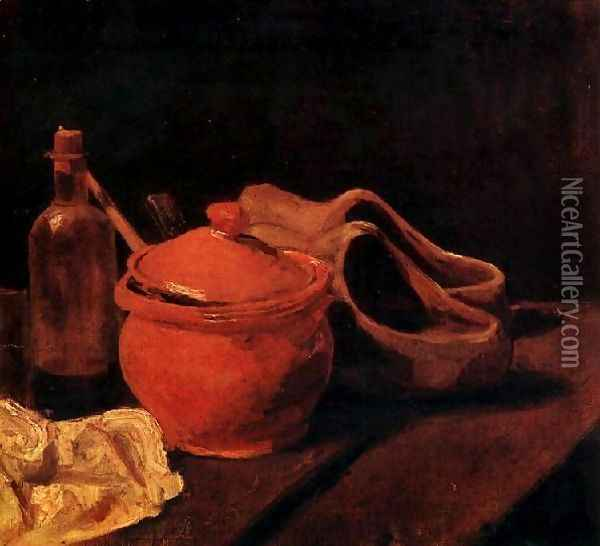 with Earthenware, Bottle and Clogs Oil Painting - Vincent Van Gogh