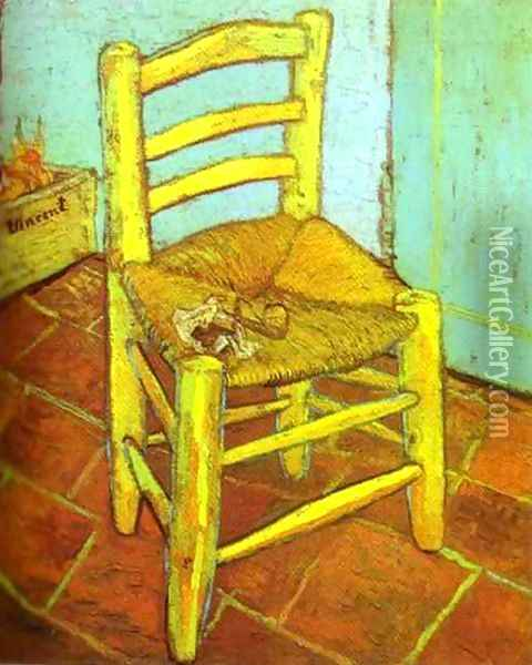 Vincent's Chair with Pipe Oil Painting - Vincent Van Gogh