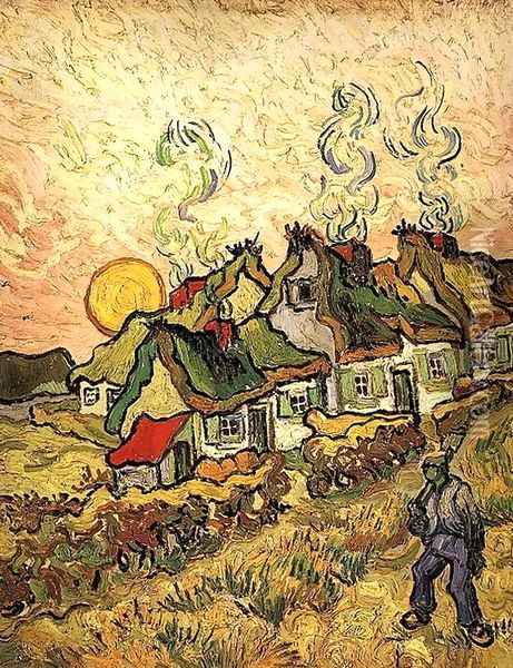 Thatched Cottages in the Sunshine Oil Painting - Vincent Van Gogh