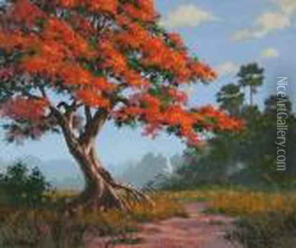 Florida Poinciana Landscape With Heron Oil Painting - August Albert Zimmermann