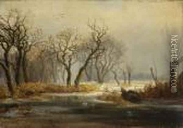 Winterlandschaft Oil Painting - August Albert Zimmermann