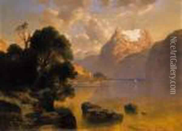 Landscape In The Alps Oil Painting - August Albert Zimmermann