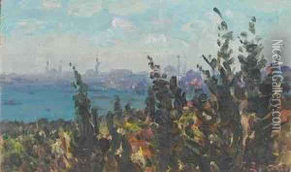 The Golden Horn From Galata, Constantinople Oil Painting - Fausto Zonaro