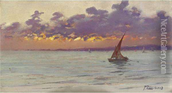 From The Patras Seafront (sunset) Oil Painting - Fausto Zonaro