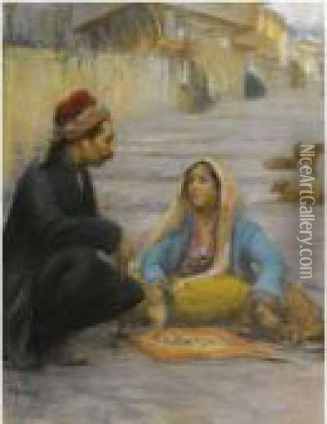 L'indovina (the Fortune Teller) Oil Painting - Fausto Zonaro