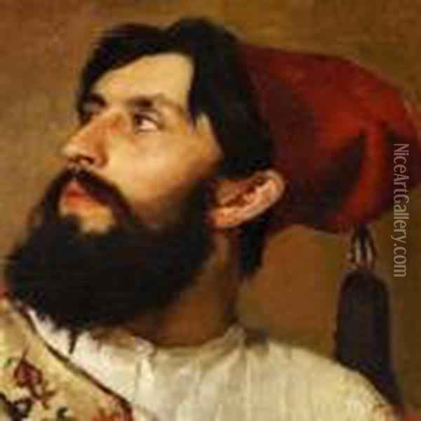 Turk With A Black Beard And A Red Fez Oil Painting - Fausto Zonaro