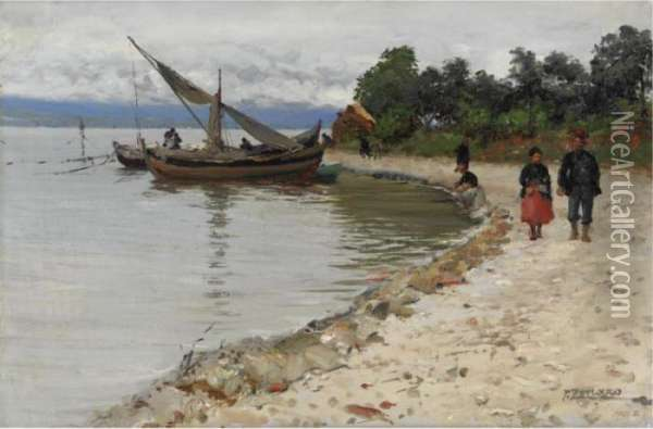 On The Shore Of The Bosphorus Oil Painting - Fausto Zonaro