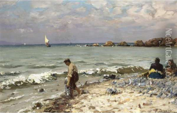 Fishermen On The Shores Of The Bosphorus Oil Painting - Fausto Zonaro
