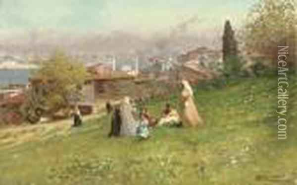 Sulle Alture Di Scutare (on The Hills Of Uskudar) Oil Painting - Fausto Zonaro