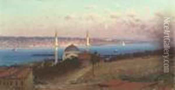The Dolmabahce Mosque And Uskudar As Seen From The Hills Ofgumussuyu, Constantinople Oil Painting - Fausto Zonaro