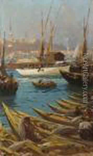 Boote Am Goldenen Horn In  Istanbul. Oil Painting - Fausto Zonaro