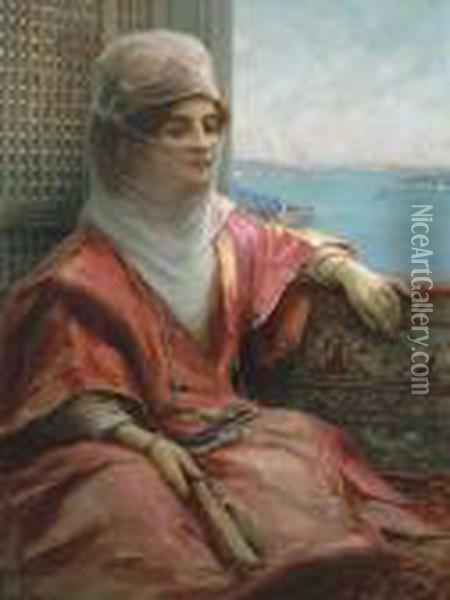 Portrait Of A Turkish Lady With The Bosphorus In Thebackground Oil Painting - Fausto Zonaro