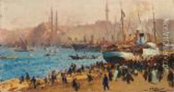 The Golden Horn, Istanbul Oil Painting - Fausto Zonaro