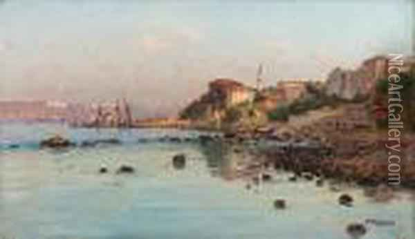The Shores Of The Bosphorus Oil Painting - Fausto Zonaro