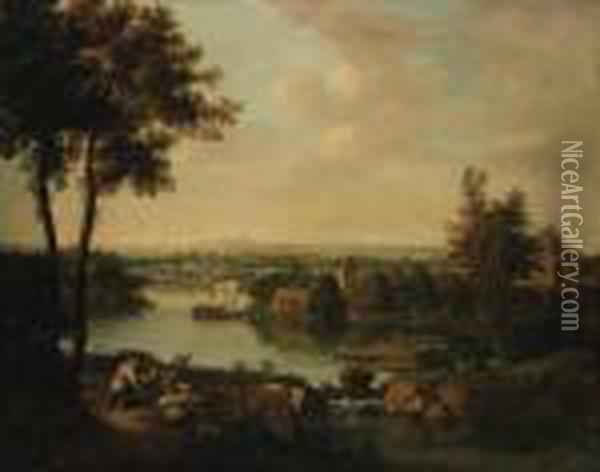 An Extensive River Landscape With A Maid Milking Goats On A Bank, Avillage Beyond Oil Painting - Francesco Zuccarelli