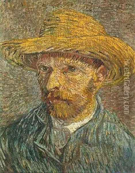 Self Portrait with Straw Hat 3 Oil Painting - Vincent Van Gogh