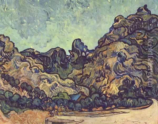 Mountains at Saint-Remy with Dark Cottage Oil Painting - Vincent Van Gogh