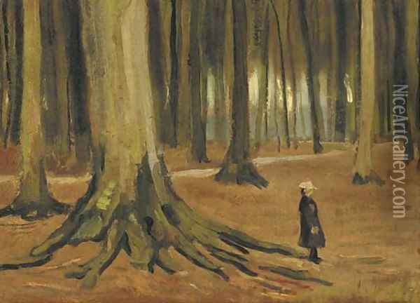 A Girl in a Wood Oil Painting - Vincent Van Gogh