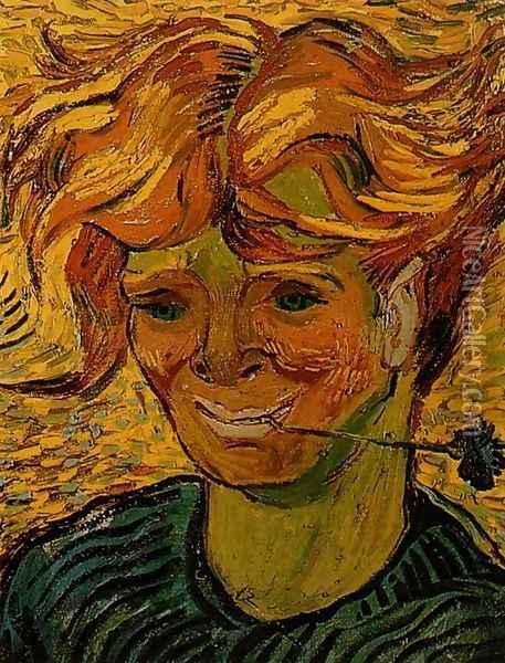 Young Man with a Corflower Oil Painting - Vincent Van Gogh