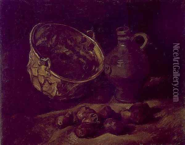 with Copper Kettle, Jar and Potatoes Oil Painting - Vincent Van Gogh