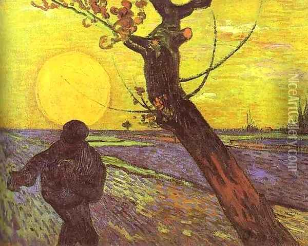 Sower with Setting Sun Oil Painting - Vincent Van Gogh