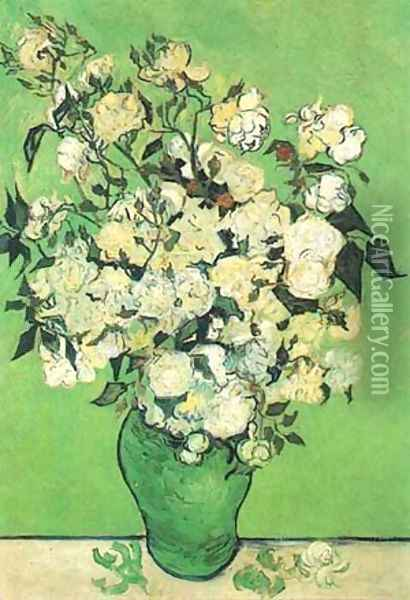Still Life Pink Roses In A Vase 1890 Oil Painting - Vincent Van Gogh