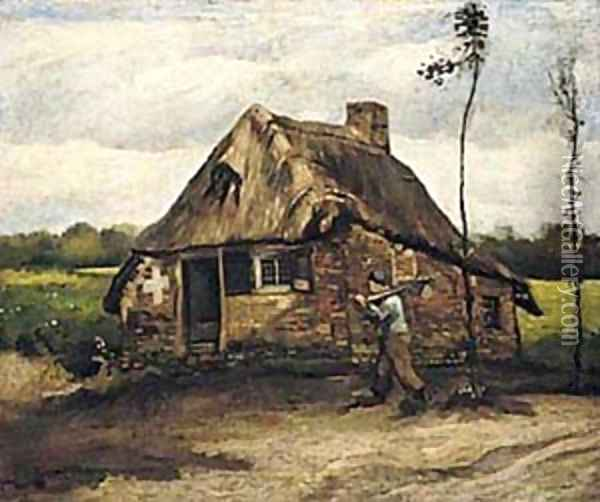 Cottage With Peasant Coming Home 1885 Oil Painting - Vincent Van Gogh