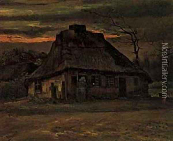 Cottage At Nightfall 1885 Oil Painting - Vincent Van Gogh
